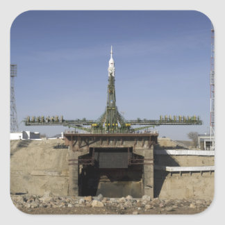 The Soyuz rocket is erected into position 6 Square Sticker