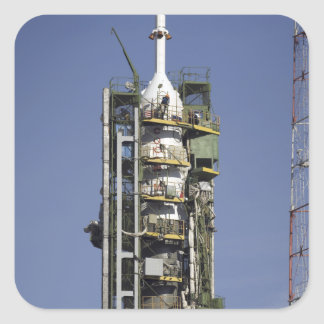 The Soyuz rocket is erected into position Square Sticker