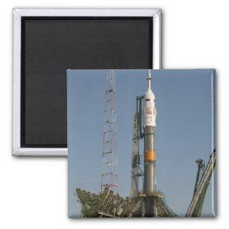 The Soyuz rocket shortly after arrival Square Magnet