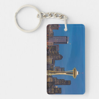 The Space Needle and downtown Seattle Rectangle Acrylic Keychain