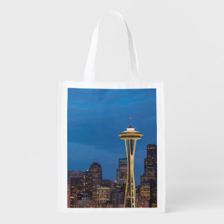 The Space Needle and downtown Seattle Reusable Grocery Bag