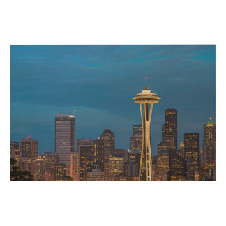 The Space Needle and downtown Seattle Wood Print