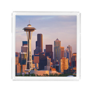 The Space Needle is a tower at dusk in Seattle Acrylic Tray