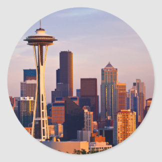 The Space Needle is a tower at dusk in Seattle Classic Round Sticker
