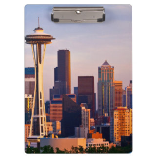 The Space Needle is a tower at dusk in Seattle Clipboard