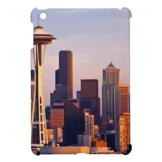 The Space Needle is a tower at dusk in Seattle Cover For The iPad Mini
