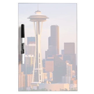The Space Needle is a tower at dusk in Seattle Dry Erase Board
