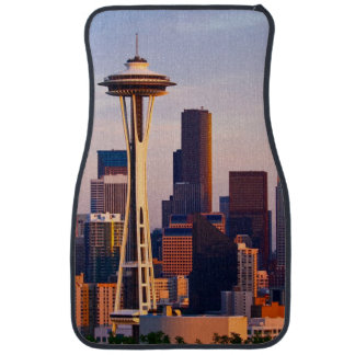 The Space Needle is a tower at dusk in Seattle Floor Mat