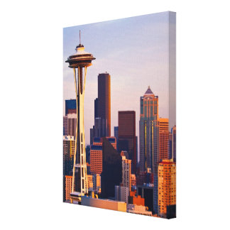 The Space Needle is a tower at dusk in Seattle Gallery Wrap Canvas