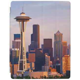 The Space Needle is a tower at dusk in Seattle iPad Cover