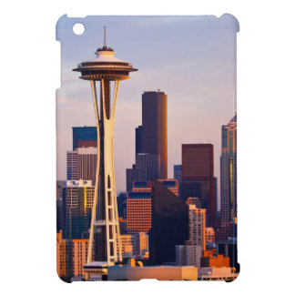 The Space Needle is a tower at dusk in Seattle iPad Mini Cases