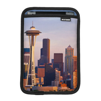 The Space Needle is a tower at dusk in Seattle iPad Mini Sleeve