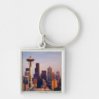The Space Needle is a tower at dusk in Seattle Key Chain