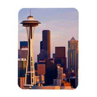 The Space Needle is a tower at dusk in Seattle Magnet