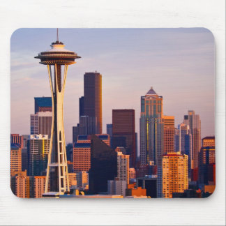 The Space Needle is a tower at dusk in Seattle Mouse Pad