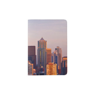 The Space Needle is a tower at dusk in Seattle Passport Holder