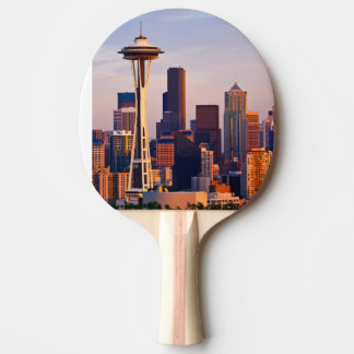 The Space Needle is a tower at dusk in Seattle Ping Pong Paddle
