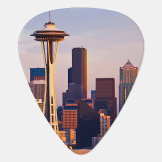 The Space Needle is a tower at dusk in Seattle Plectrum