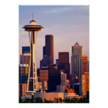 The Space Needle is a tower at dusk in Seattle Poster