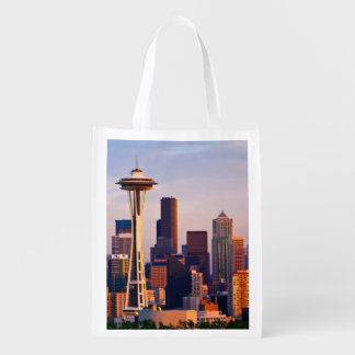 The Space Needle is a tower at dusk in Seattle Reusable Grocery Bag