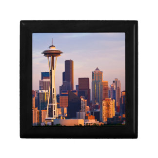 The Space Needle is a tower at dusk in Seattle Small Square Gift Box