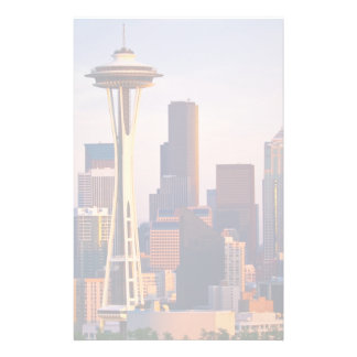 The Space Needle is a tower at dusk in Seattle Stationery