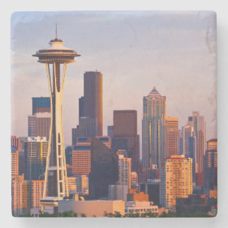 The Space Needle is a tower at dusk in Seattle Stone Coaster
