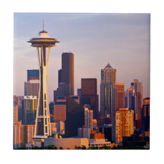 The Space Needle is a tower at dusk in Seattle Tile