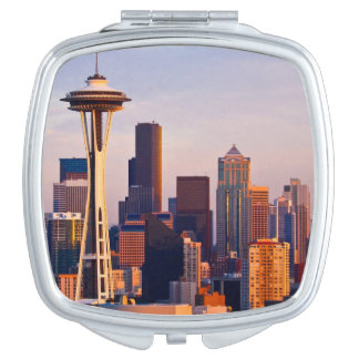 The Space Needle is a tower at dusk in Seattle Vanity Mirror