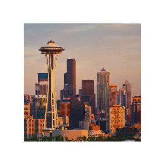 The Space Needle is a tower at dusk in Seattle Wood Print