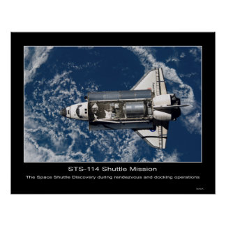 The Space Shuttle Discovery rendezvous and docking Poster