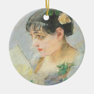 The Spanish Woman (pastel on paper) Round Ceramic Decoration