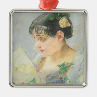 The Spanish Woman (pastel on paper) Silver-Colored Square Decoration