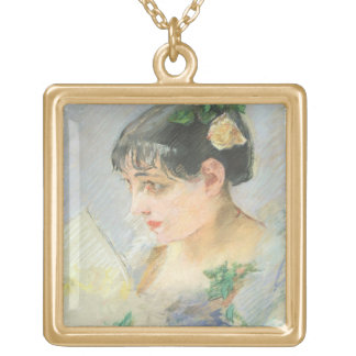 The Spanish Woman (pastel on paper) Square Pendant Necklace