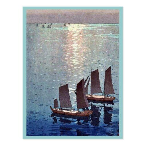 The sparkling sea by Yoshida, Hiroshi Ukiyoe Post Cards