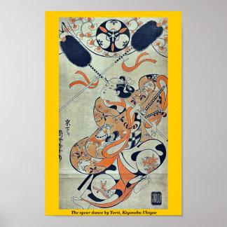 The spear dance by Torii, Kiyonobu Ukiyoe Posters