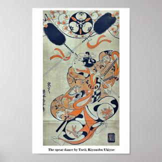 The spear dance by Torii, Kiyonobu Ukiyoe Print