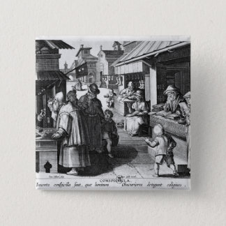 The Spectacles Seller, engraved by Jan Collaert 15 Cm Square Badge