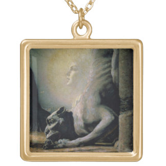 The Sphinx and the Chimera, 1906 (oil on canvas) Square Pendant Necklace