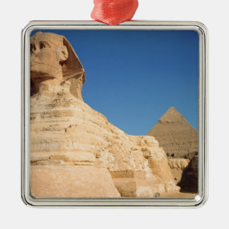 The Sphinx and The Pyramid of Khafre, Giza Silver-Colored Square Decoration