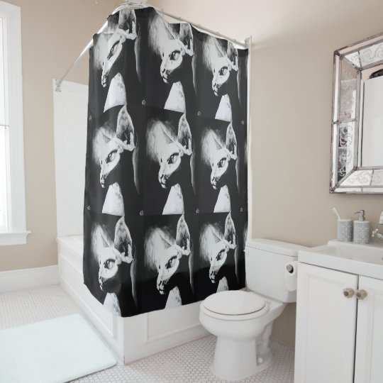 The Sphynx Cat Feline Black & White Original Art Shower Curtain