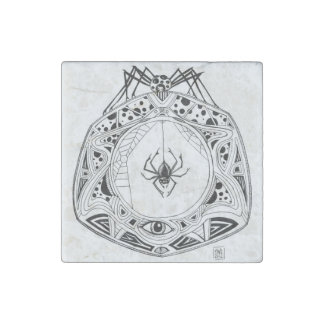 The Spider Mandala on a stone magnet