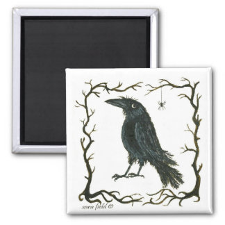 the spider & the crow square magnet