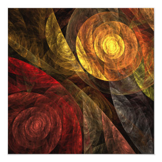 """The Spiral of Life Abstract Art 5.25"""" Square Invitation Card"""