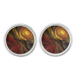The Spiral of Life Abstract Art Silver Plated Cuff Links