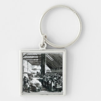 The Spitalfields Soup Kitchen, 1867 Silver-Colored Square Key Ring