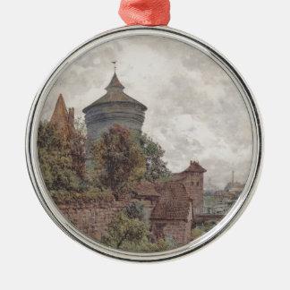 The Spittler in Nuremberg by Rudolf von Alt Silver-Colored Round Decoration