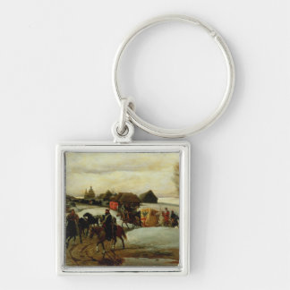 The Spring Pilgrimage of the Tsarina Silver-Colored Square Key Ring
