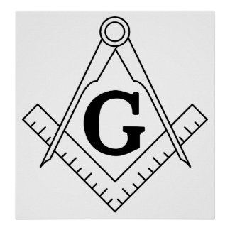 The Square and Compasses Freemasonry Symbol Poster