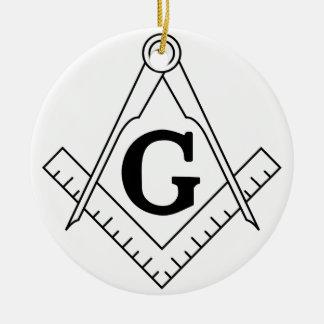 The Square and Compasses Freemasonry Symbol Round Ceramic Decoration